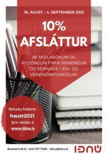 Iðnú auglýsing fyrir afslátt haust 2021